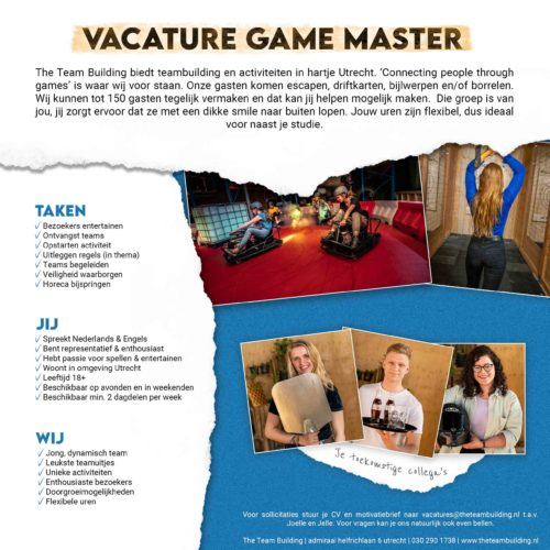 Vacature Game Master The Team Building in Utrecht