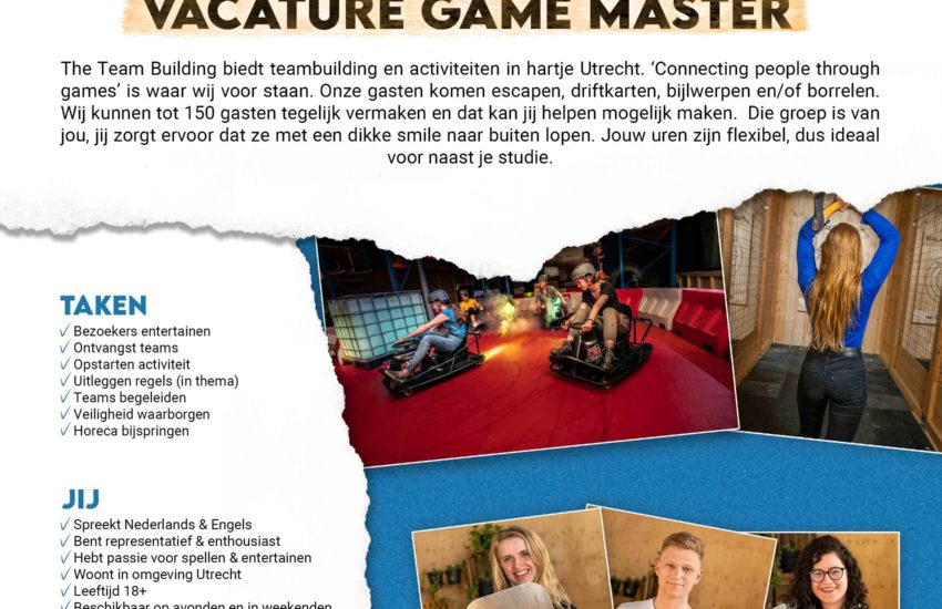 Vacature Game Master The Team Building in Utrecht